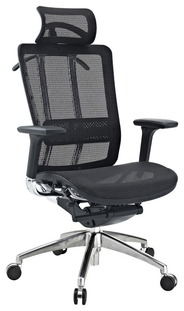 Future Black Leather and Mesh Office Chair with Headrest contemporary-office-chairs