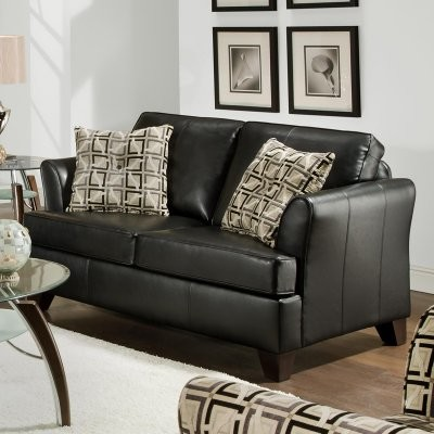 Simmons Urban Onyx Leather Loveseat with Accent Pillows traditional-love-seats