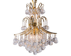"""10-Light 19"""" Gold Finish Crystal Chandelier Contour Design traditional-chandeliers"""