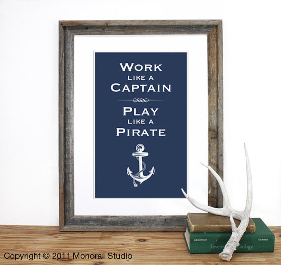 Play like a Pirate Screenprint by Monorail eclectic artwork