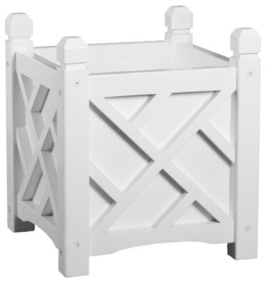 Chippendale Square Planter, White - Traditional - Outdoor Pots And Planters - by Target