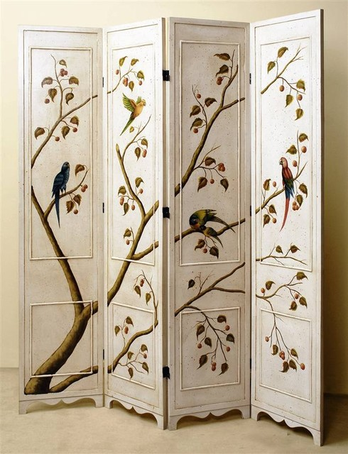 Four panel folding screen in antique white finish w hand for Painted screens room dividers