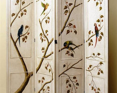 Four Panel Folding Screen in Antique White Finish w Hand Painted Birds & Tree traditional-screens-and-room-dividers