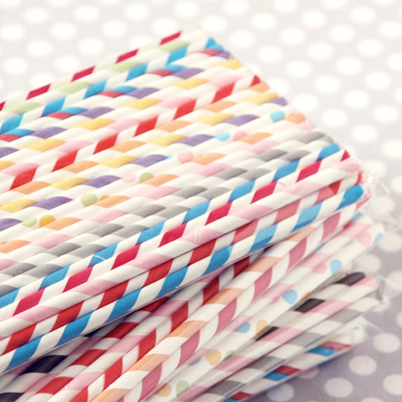 Striped Paper Straws eclectic barware