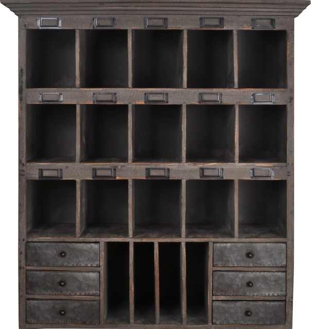 Distressed Wood Cabinet with Cubbies & Drawers (Shabby ...