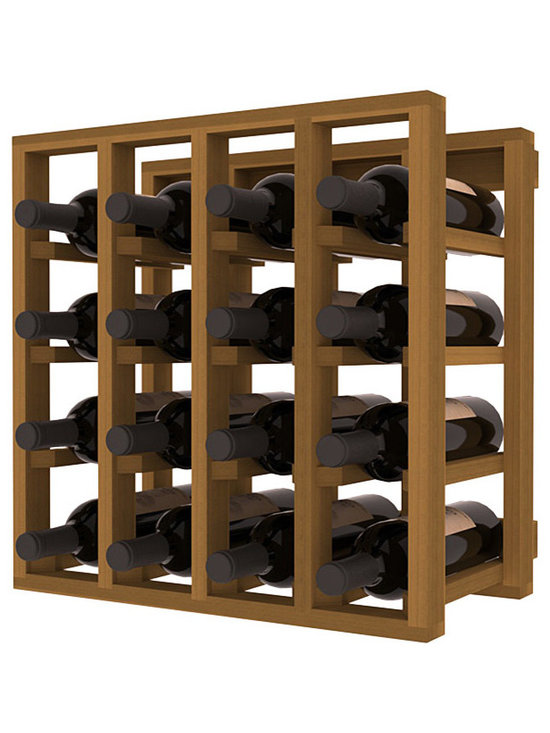 Lattice Stacking Wine Cubicle in Redwood with Oak Stain - Designed to stack one on top of the other for space-saving wine storage our stacking cubes are ideal for an expanding collection. Use as a stand alone rack in your kitchen or living space or pair with the 20 Bottle X-Cube Wine Rack and/or the Stemware Rack Cube for flexible storage.