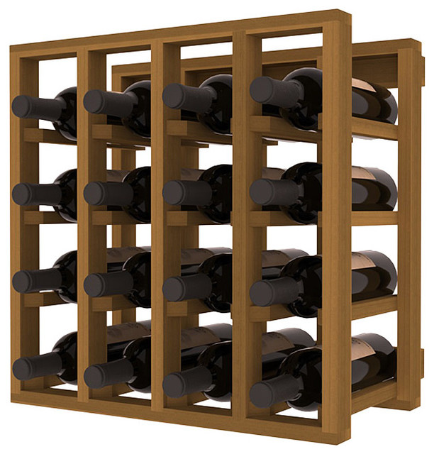 Lattice Stacking Wine Cubicle in Redwood with Oak Stain traditional-wine-racks