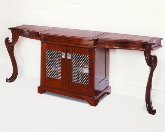 Lewiston Bar Console - Art | Harrison Collection - Mahogany hand carved bar console with inset marble tops. Mirror lined cabinet with pullout liquor shelf features nickel hardware.