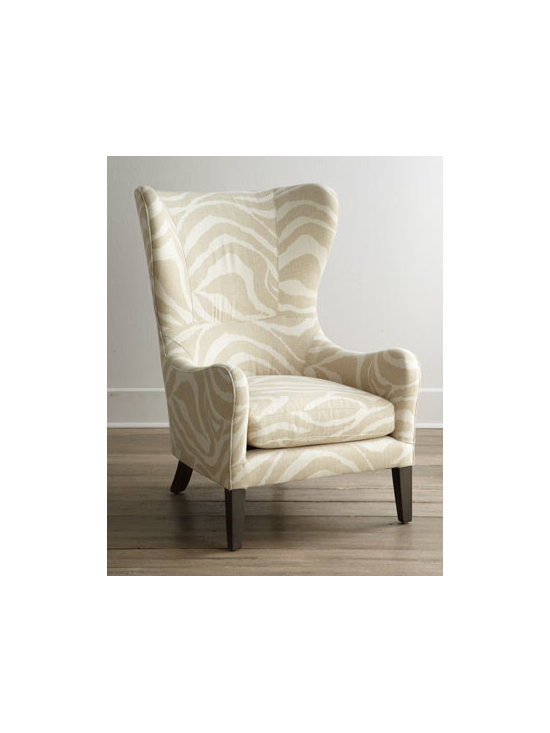 """Lee Industries - Lee Industries """"Somerset"""" Wing Chair - The traditional tall wing chair becomes subtly exotic when wrapped in naturally hued tone-on-tone animal-print upholstery. Maple frame. Cotton/polyester/linen upholstery. 28""""W x 37""""D x 45""""T. Seat, 17""""T; arms, 24""""T. Handcrafted in the USA. Boxed wei..."""