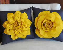 Decorative Flower Pillows, Mustard Yellow by Bed Buggs eclectic-decorative-pillows
