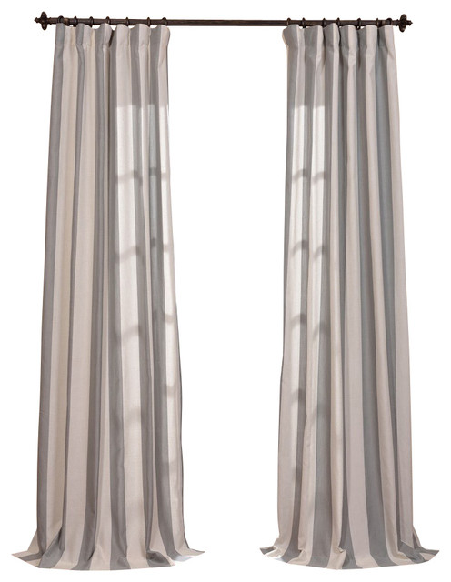 Stripe sheer curtain traditional curtains by half price drapes - Bermuda Gray Linen Blend Stripe Curtain Traditional