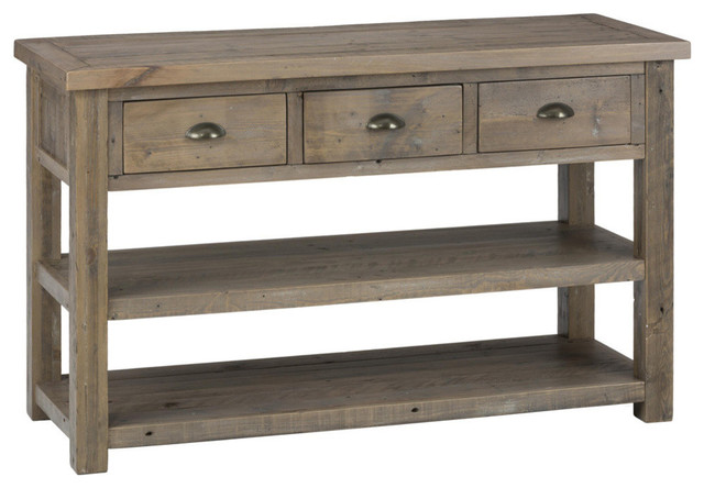 Jofran 940 4 reclaimed pine sofa table with 3 drawers and 2 shelves traditional side tables - Pine sofa table with drawers ...