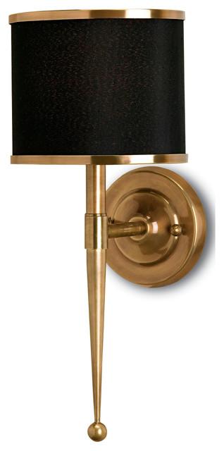 Primo Hollywood Regency Modern Brass Black Wall Sconce transitional-wall-lighting