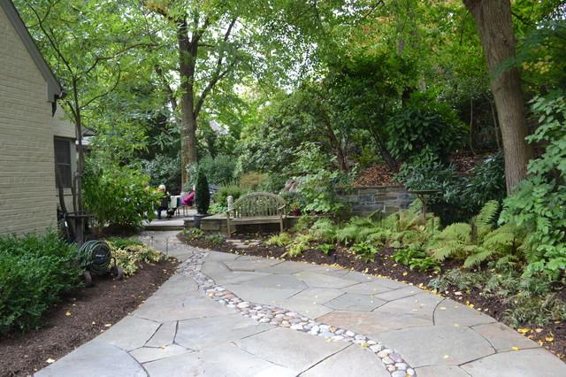 River rock shade garden craftsman dc metro by landis for Rock garden designs shade