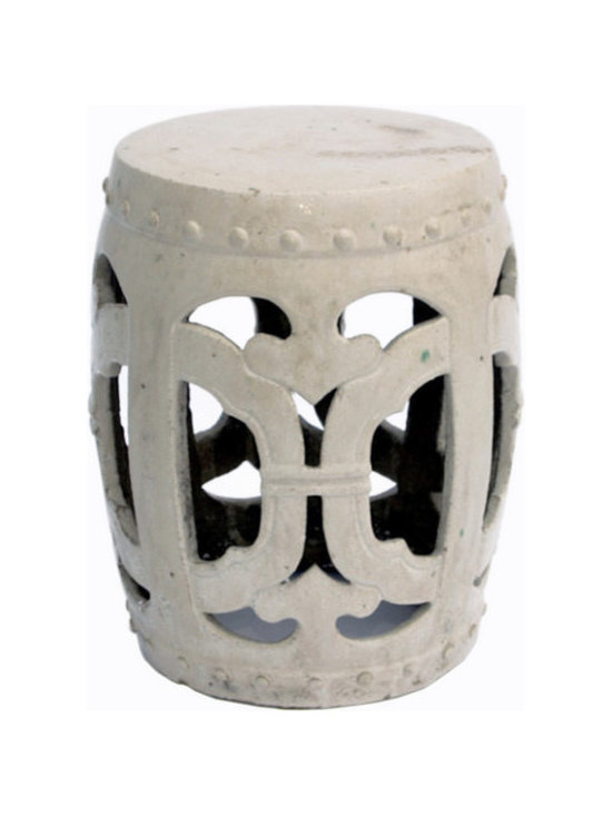 Belle & June - Club Garden Stool Vanilla - A simple, openwork design elevates this garden stool into a sophisticated accessory for your outdoor garden or indoor oasis. For a fun and unusual lighting idea, place a large pillar candle inside.