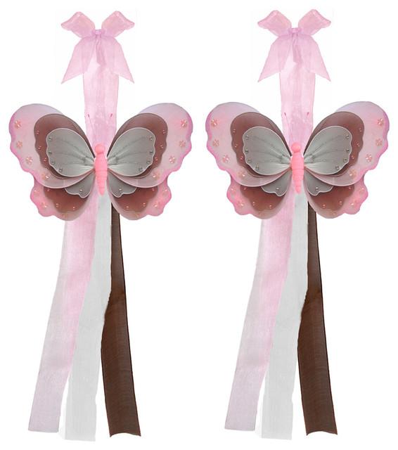 Butterfly Tie Backs Pink Brown White Triple Layered Butterflies Tieback Pair Set window-treatment-accessories