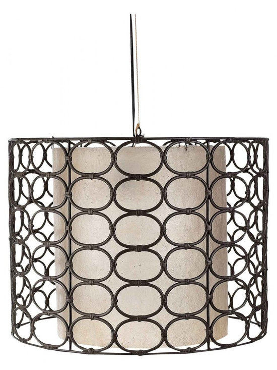 Weathered Drum Gray Oval Ring Lamp -
