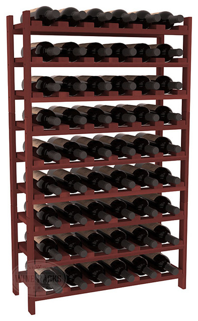 54 Bottle Stackable Wine Rack in Premium Redwood, Cherry Stain contemporary-wine-racks