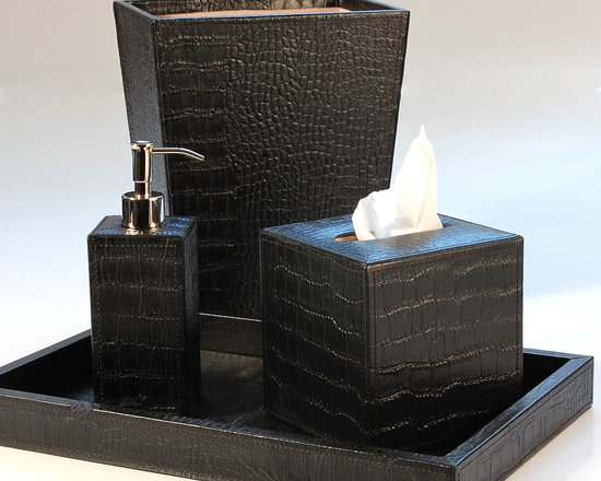 Verona Saddle Black Bathroom Set - Give you bathroom or powder room a luxurious, rich boost with this collection of stunning bath accessories. Done in crocodile embossed genuine leather, each item is a work of art on its own! Ideal for both modern and traditional homes, these gorgeous bath accents will impress guests and add sleek style to your home.