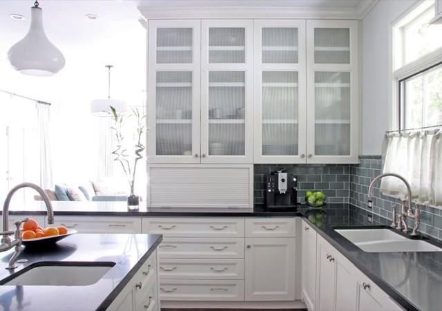 william hefner kitchen black counter recessed panel cabinet doors reeded glass s