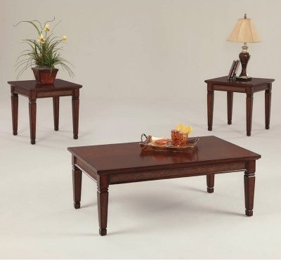 Progressive Furniture Kingston Isle Rectangular Havana Brown Wood 3 Piece Coffee modern-coffee-tables