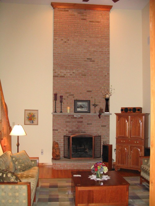 Two Story Fireplace Design Ideas Bathroomfurniturezone 2: Boring Two-story Brick Face Fireplace