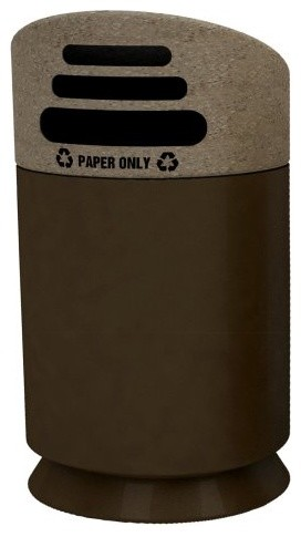 Commercial Zone Galaxy Collection Paper Only Recycling Trash Can - Brown modern-wastebaskets