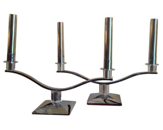 Vintage 1940s Chrome and Lucite Candelabras - $1,350 Est. Retail - $495 on Chair -