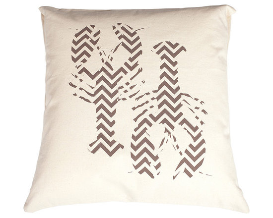 Jules Johnson Interiors Chocolate Chevron Lobsters Pillow Cover