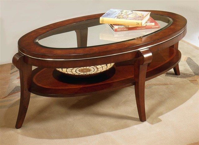 Oval cocktail table in black cherry finish contemporary for Contemporary oval coffee tables