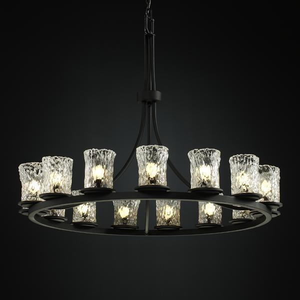 Justice Design GLA-8715-16-CLRT-MBLK Dakota 15-Light 1-Tier Ring Chandelier chandeliers