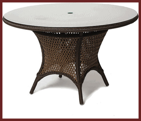 "Grand Traverse Outdoor Wicker 42"" Umbrella Table traditional-outdoor-tables"