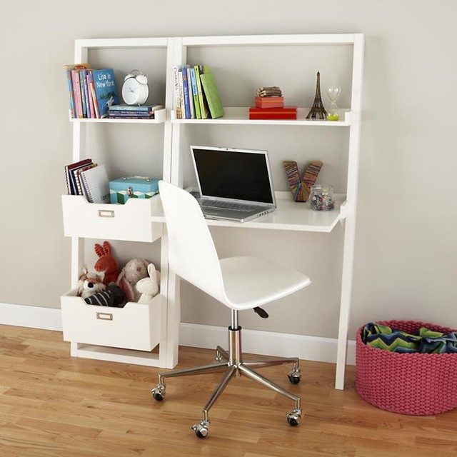 Little Sloane Leaning Desk White Modern Kids Desks