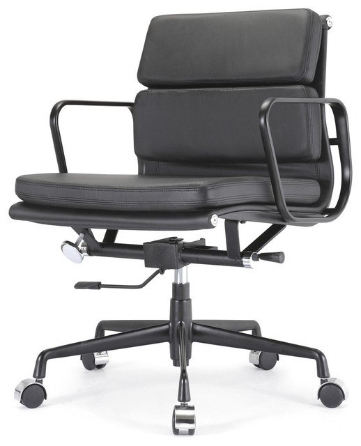 M342 Eames Style Soft Pad Office Chair All Black Everything In Leather Mode