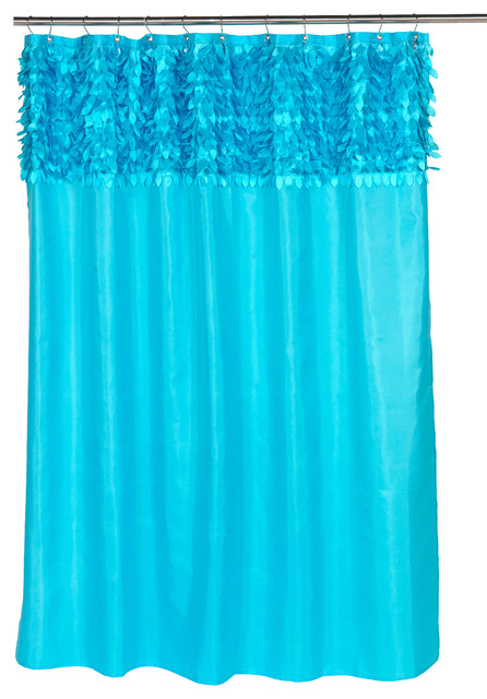 Jasmine Fabric Shower Curtain In Cyan Blue Eclectic Shower Curtains By Carnation Home