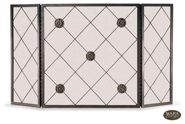 Rosettes Screen in Brushed Bronze traditional-fireplace-accessories
