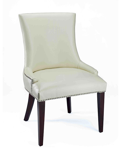 Becca Cream Leather Dining Chair traditional-dining-chairs