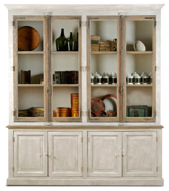 Portes Antique French Country 4 Door White Pine Cabinet Curio - Transitional - Storage Cabinets ...
