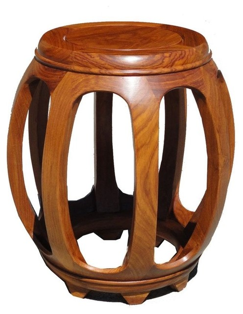 Chinese Solid Wood Huali Barrel Round Stool Asian Side