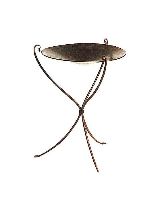 Hanging Copper Birdbath on Iron Stand -