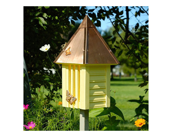 Grandin Road - Staked Flutterbye Yellowfly House - Butterfly house on stake for easy setup in a garden. Copper roof with cypress wood siding. Slotted front. Various colors to complement its surroundings. Bring everlasting beauty to your garden with our Staked Flutterbye Butterfly House. Crafted with quality in mind, from its solid copper hipped roof to the cypress siding. Stake this charming butterfly refuge near plants that they like to flutter by, and enjoy the shimmers of color they bring.  .  .  .  . Made in USA.