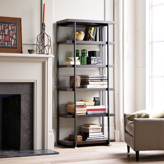 Flat bar bookcase modern bookcases by west elm for Open shelves in living room
