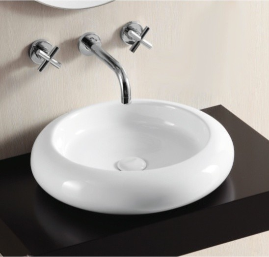 Shallow Round White Ceramic Vessel Bathroom Sink by Caracalla ...