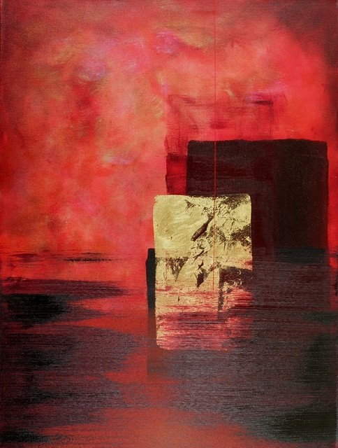 Endless is a 30 x 40 original luscious red abstract painting contemporary-originals-and-limited-editions