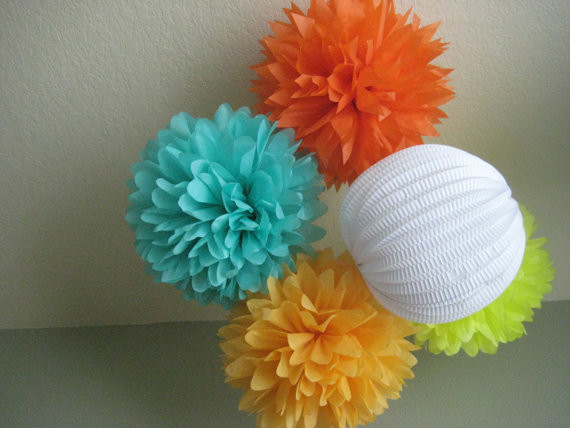 Pom Pom and Paper Lantern Mix DIY Decor Kit by Prost to the Host modern-home-decor