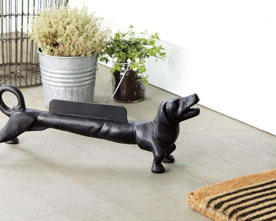 Rejuvenation: Exterior Lighting & Accessories - A fun and functional Dachshund Boot Scrape. Perfect for porches and entries. More boot scrapes and porch accessories at rejuvenation.com.