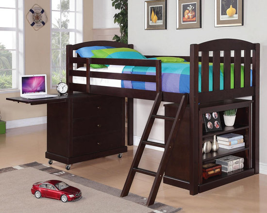 Anders Cappuccino Loft Height Bed - Clean lines, sturdy construction, and a central ladder make this bed usable space in your youth bedroom. Matching Small Chest, Mattress and Bookcase of same collection are available and sold separately.