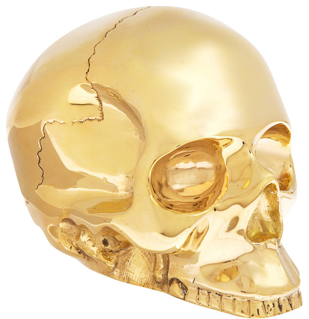 D.L. & Co. Large Brass Skull eclectic desk accessories