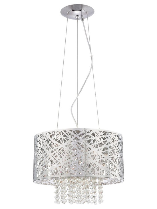 "Possini Euro Design - Possini Euro Design Chrome Nest with Crystal Pendant - A pendant chandelier with pure sparkle and striking modern form. This design is alive with glittering clear crystal which cascades from the center of a metal ""nest"" shade. The shade gets a gleaming chrome finish to complete this sophisticated look. Metal nest shade. Chrome finish. Clear crystal. Includes seven 40 watt G9 halogen bulbs. Fixture is 15 1/2"" wide x 11"" high. Includes 8 feet of adjustable cable and wire. Hang weight of 8 lbs. Canopy is 6 1/4"" wide.  Metal nest shade.   Chrome finish.   Clear crystal.   Includes seven 40 watt G9 halogen bulbs.   Fixture measures 15 1/2"" wide by 11"" high.   Includes 8 feet of adjustable cable and wire.   Canopy is 6 1/4"" wide.   Hang weight of 8 lbs."