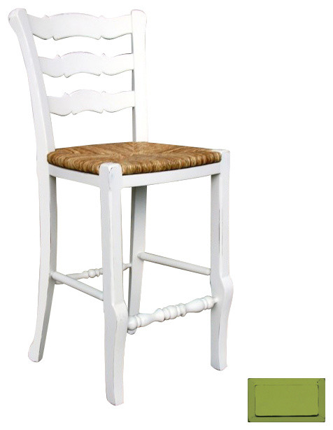 French country ladder back counter stool green